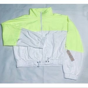 Iris Basic Neón Yellow & White NWT Jacket (L)